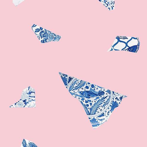 Pink & Blue Plate fragment Wallpaper