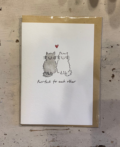 Purrfect - card hand drawn by Hannah Shelbourne