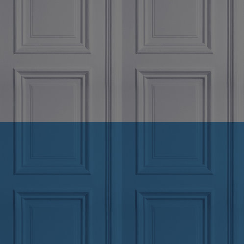 Grey/Marine Panelling Wallpaper