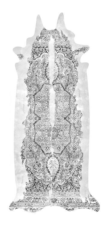 Super Long Grey Persian Cowhide Rug