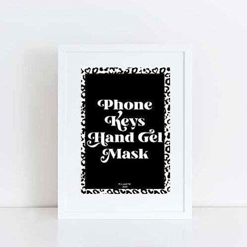 Phone, keys, wallet, mask