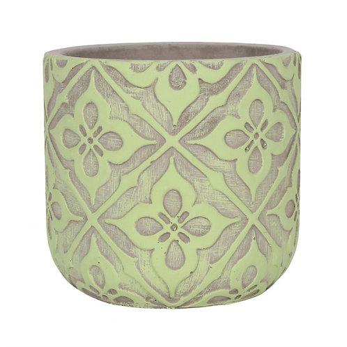 Lime Green PatternedPlant Pot