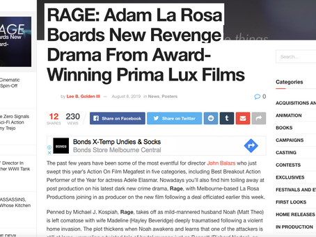 Film Combat Syndicate (USA) shares news between Prima Lux Films & La Rosa Productions for RAGE