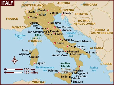 Map Of Italy With Siracusa Shown in Sicily