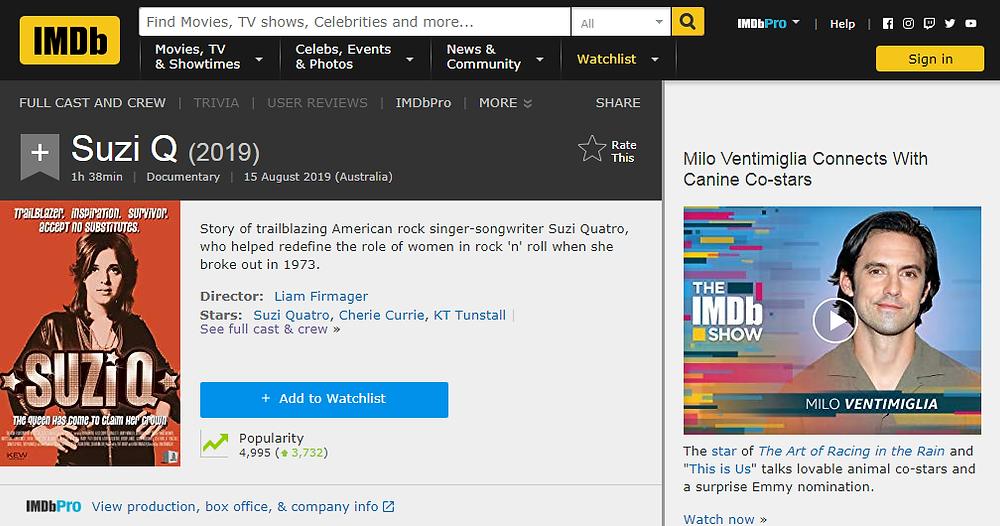 imdb, suzi q, ranking, popular