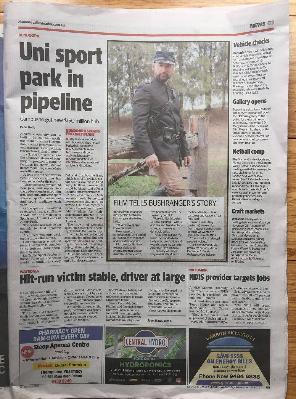 Diamond Valley Leader Newspaper Adam La Rosa The Legend Of Ben Hall