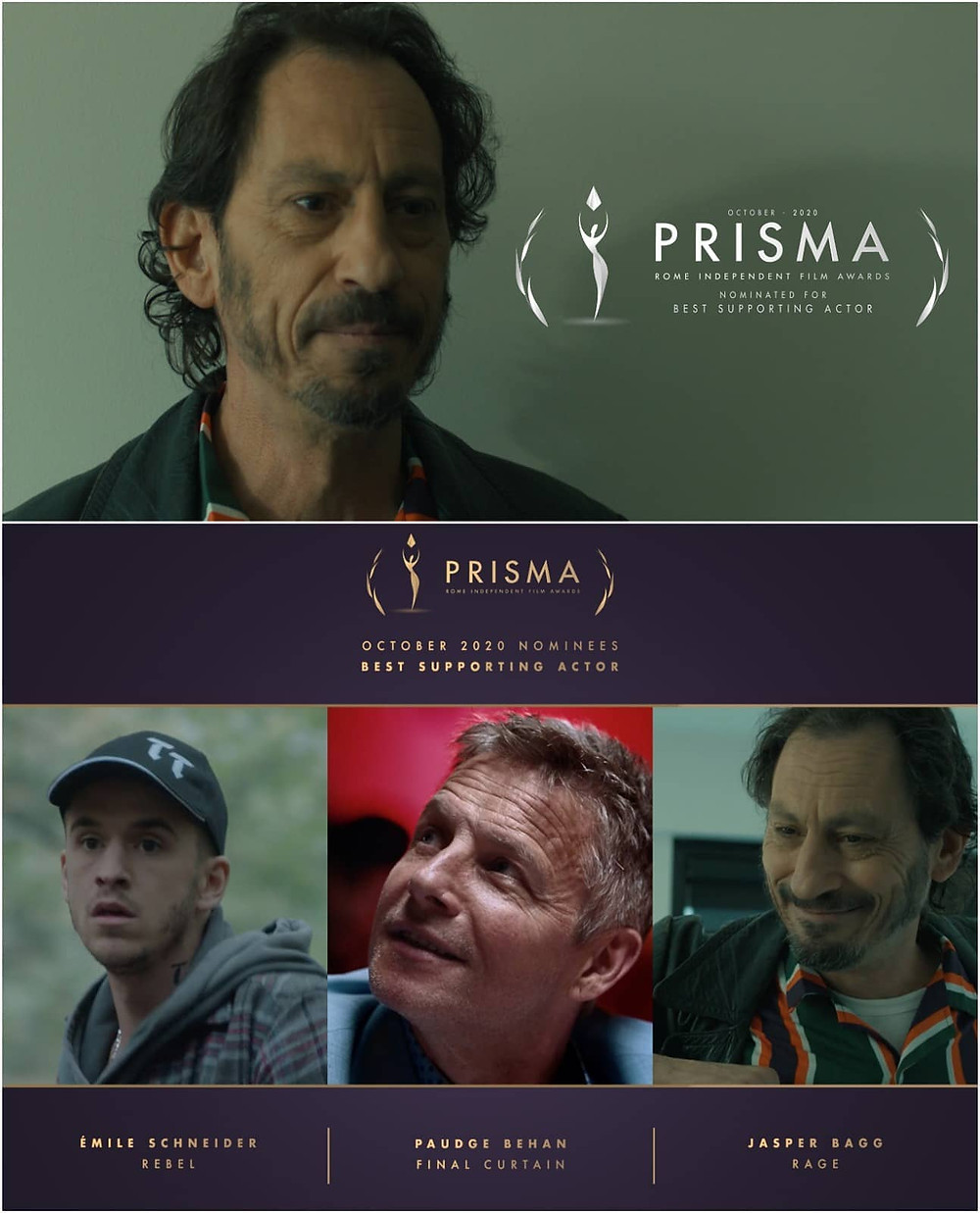Jasper Bagg Best Supporting Actor Nominee Nomination Rage Prisma Rome Independent Film Awards