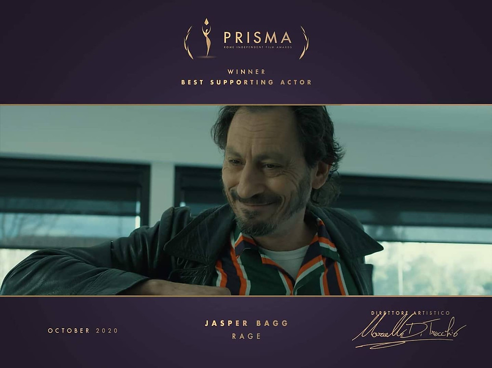 Jasper Bagg Best Supporting Actor Rage Winner Prisma Rome Independent Film Awards