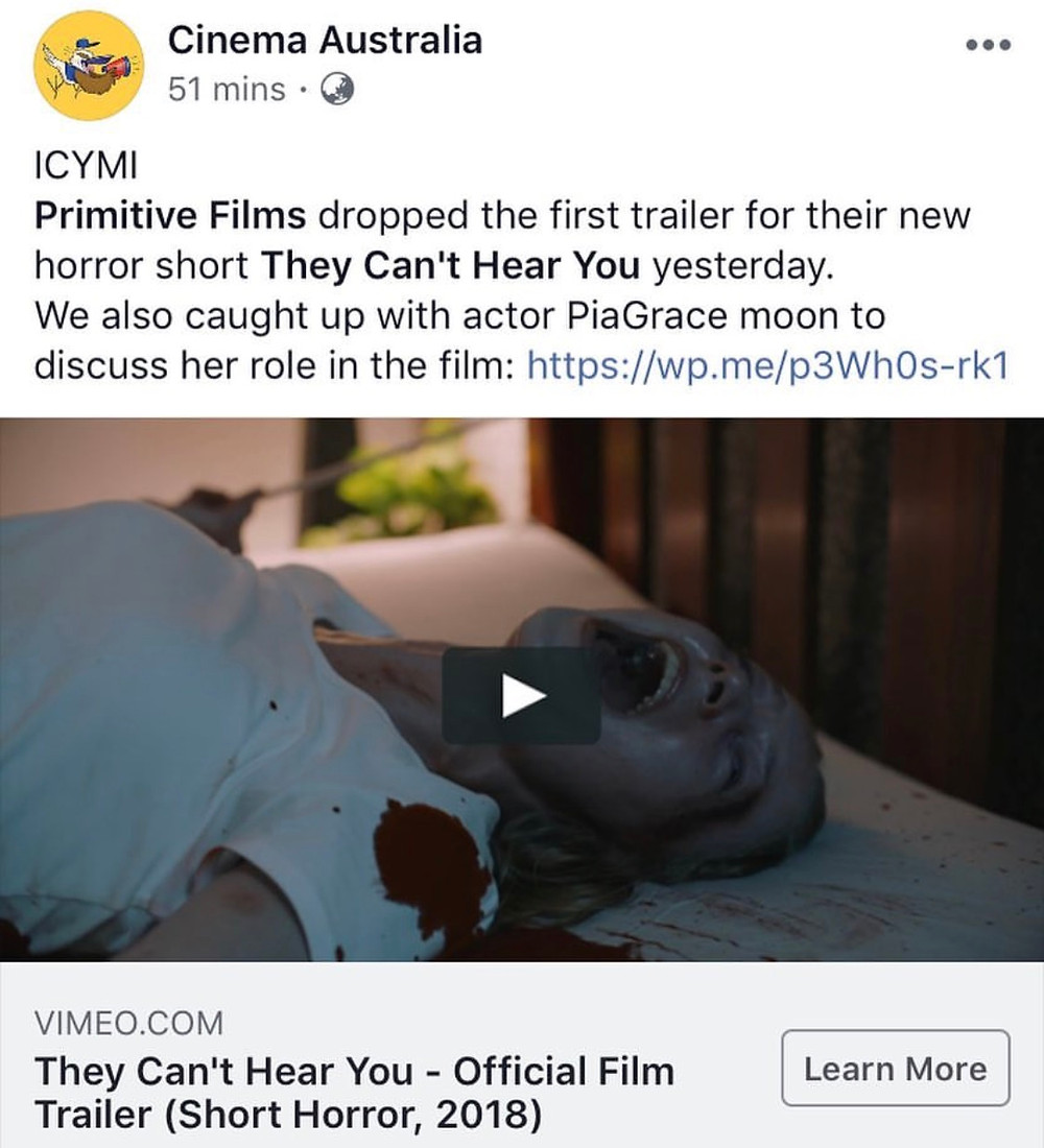 Cinema Australia Support For THEY CAN'T HEAR YOU