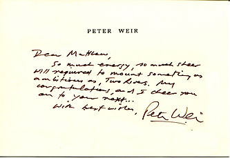 Peter Weir Twin Rivers personal note