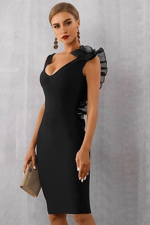 Ruffled Party Dress Black