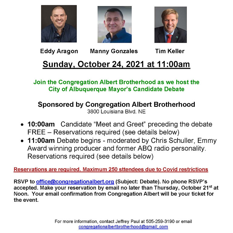 Congregation Brotherhood Albert Mayoral Debate