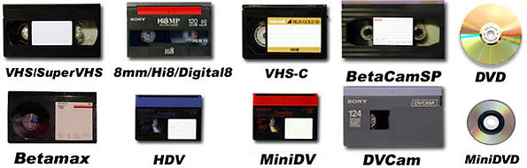 VHS, Hi8mm, Video 8, Betamax, MIni DV video taspes copied and transferred to DVD or any file format