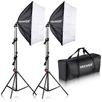 Softbox light hire with chromakey background kit