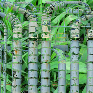 Blue pipes with grass