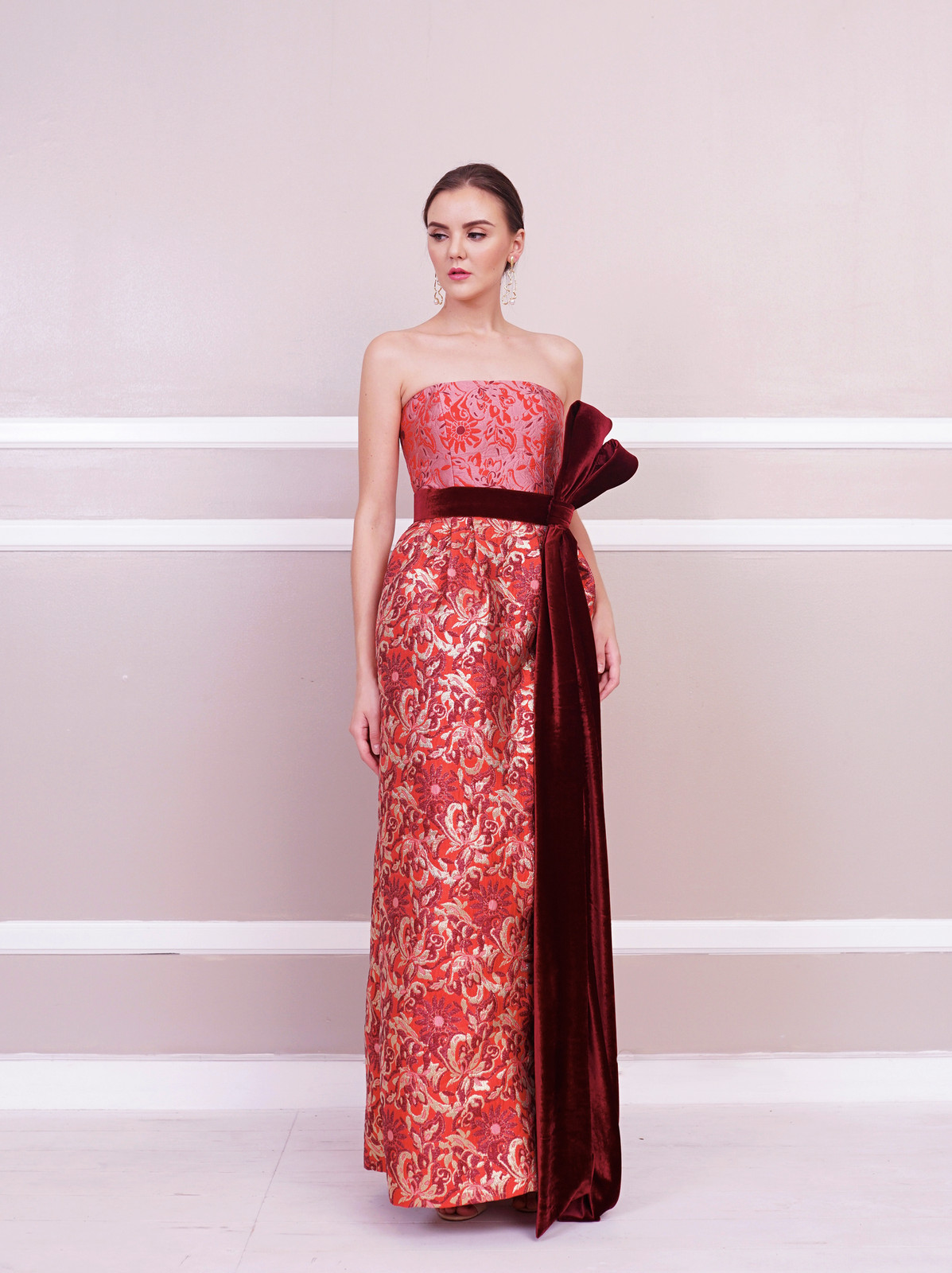 d5e0cd495f1d Samantha Strapless Midi Dress with Pearl Tulle Overlay. Look 14. Sandrine Strapless  Gown with Velvet Bow