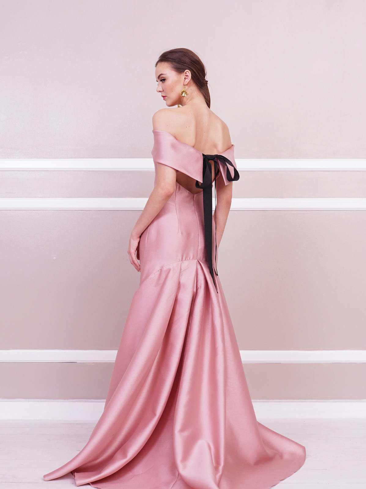 ab3c75951217 Gianna Off-Shoulder Gown with Pleated Train.