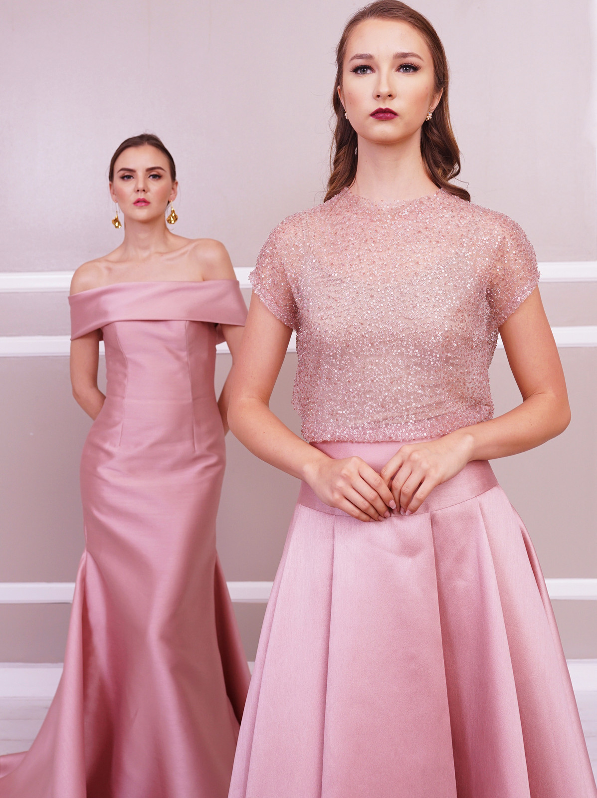 03ba0776ab2a Gianna Off-Shoulder Gown with Pleated Train Ella Embellished Tee Perry  Pleated Evening Skirt