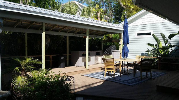 Patio with covered outdoor kitchen