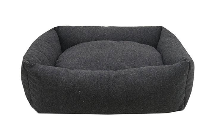 Sausage Dog Box Grey Felt Memory Foam Bed