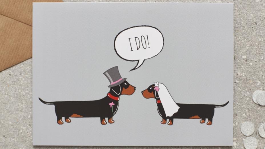 """Sausage Dog Box Dachshund """"I Do"""" Card"""