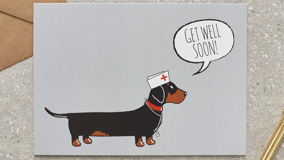"Sausage Dog Box Dachshund ""Get Well Soon"" Card"