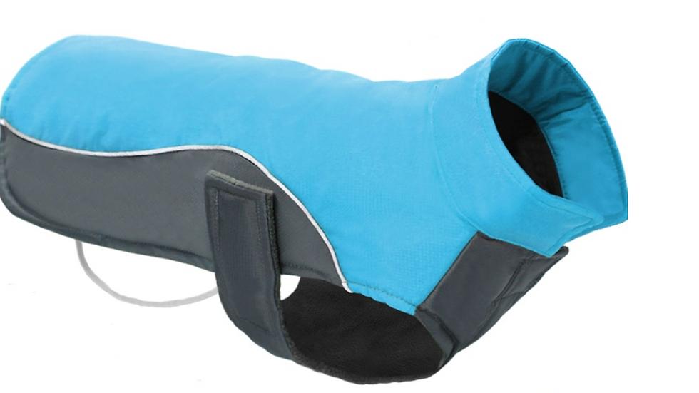 Sausage Dog Box Waterproof Velcro Coat - Blue & Grey