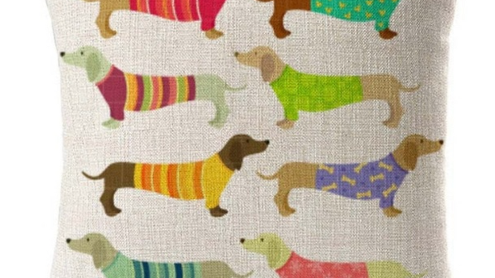 Sausage Dog Box, Dachshund Colourful Dachshund Square Cushion With Duck Insert