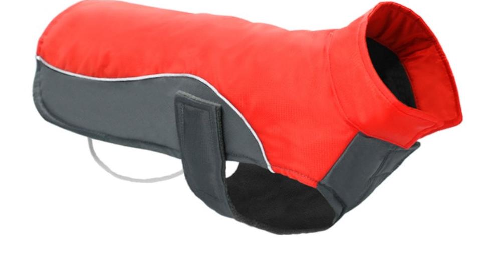 Sausage Dog Box Waterproof Velcro Coat - Red & Grey