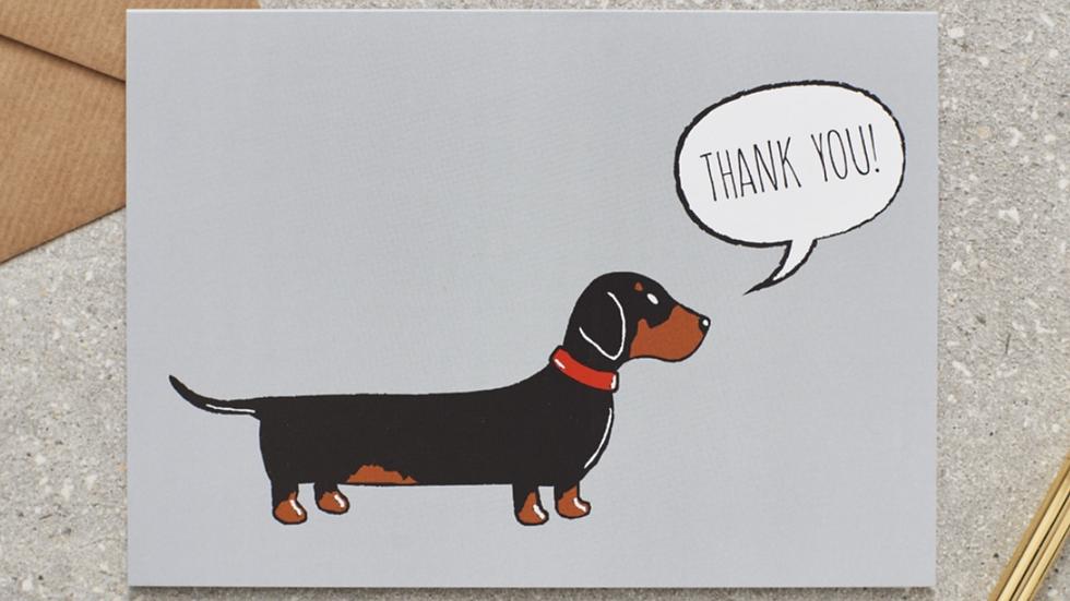 """Sausage Dog Box Dachshund """"Thank You"""" Card"""