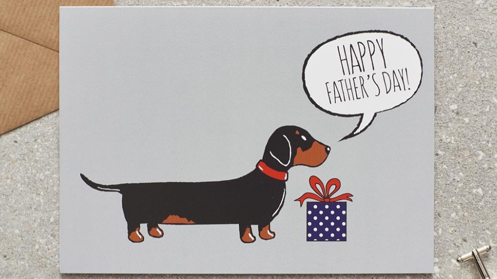 "Sausage Dog Box Dachshund ""Happy Father's Day"" Card"