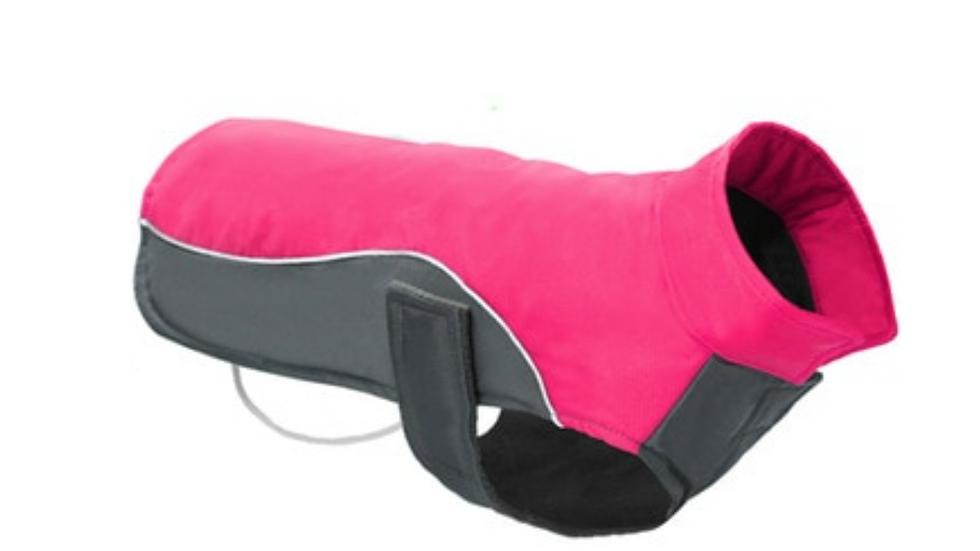 Sausage Dog Box Waterproof Velcro Coat - Pink & Grey
