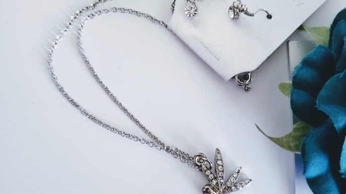 Silver Fairy Necklace& Earring Set NWT