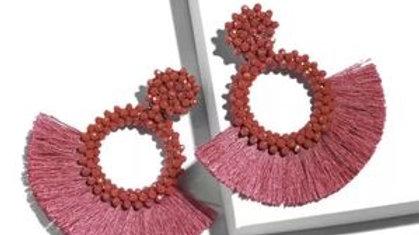 Fashion Red Boho Fringe Earrings NEW
