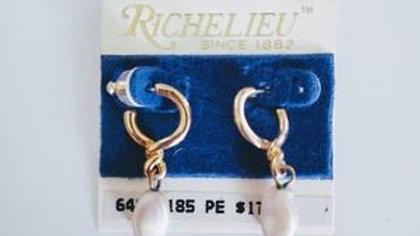 Gold pearl delicate earrings NWT