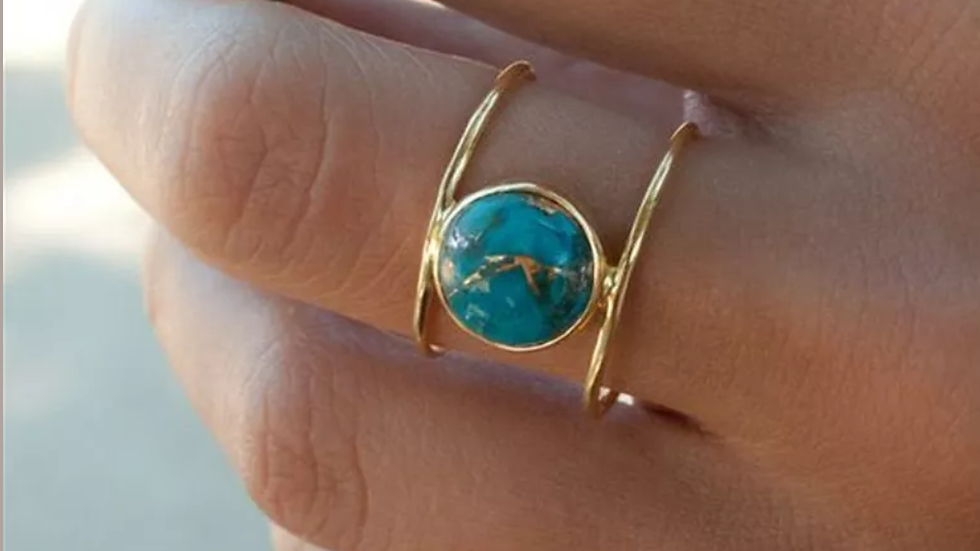 18K Gold Filled Turquoise Ring NEW