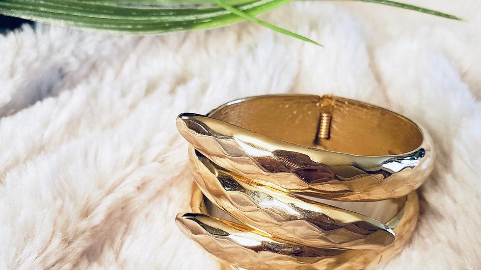 Goldtone Hinged Cuff Bracelet