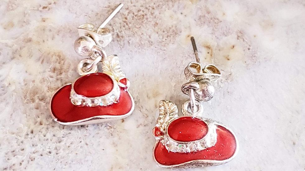 Little Red Hat Dangle Earrings
