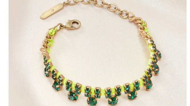 Stella & Dot Neon Dream Bracelet Green NIB