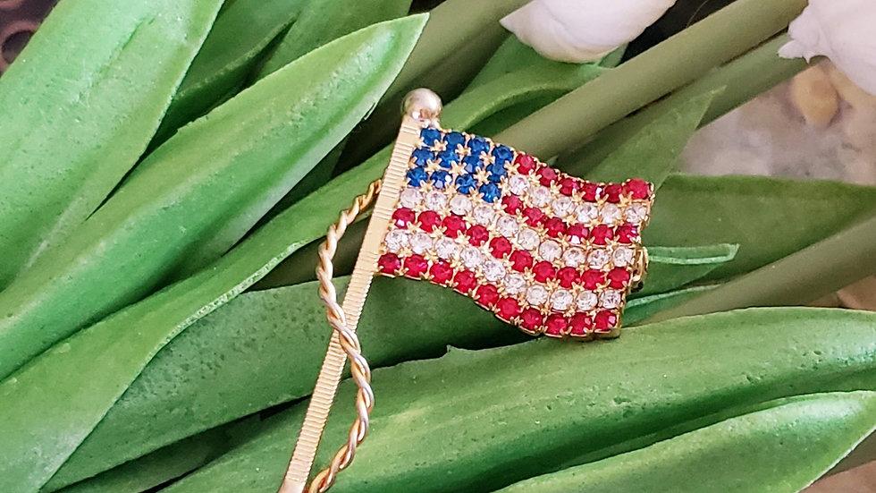 Vintage Flag Goldtone Pin