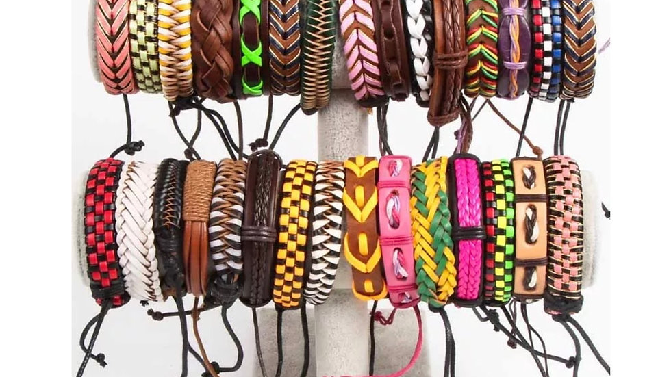 Wholesale Lot of 10 Leather Bracelets NEW