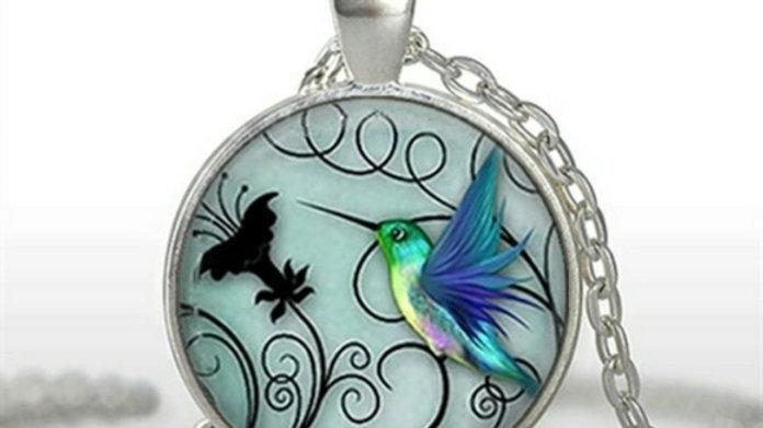 Silvertone Hummingbird Pendant Necklace NEW