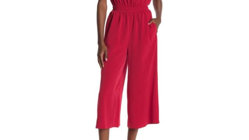 London Times - Shirred Neck Smocked Waist Jumpsuit NWT