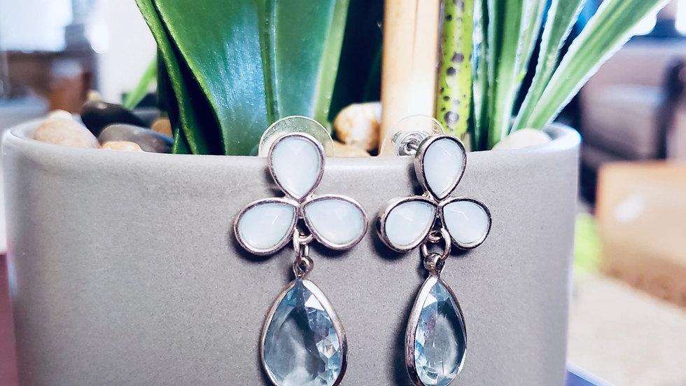 Crystal Blue Silver Fashion Earrings