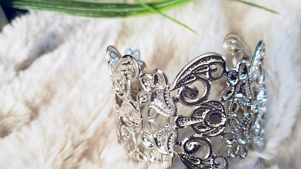 Silvertone Lace Detail Cuff Bracelet
