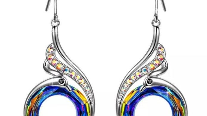 Silver Phoenix Dangle Earrings NEW