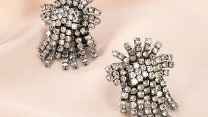 Stella & Dot Crystal Burst Clip Earrings NIB