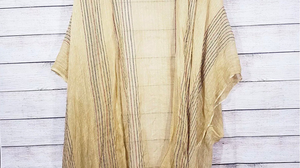 Yellow Metallic Striped Boutique Kimono NEW