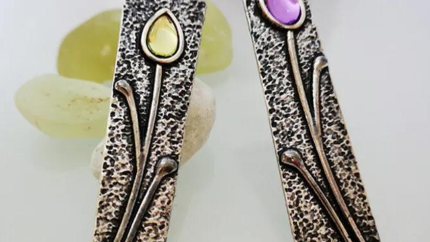 Amethyst Citrine Art Deco Dangle Earrings NWT