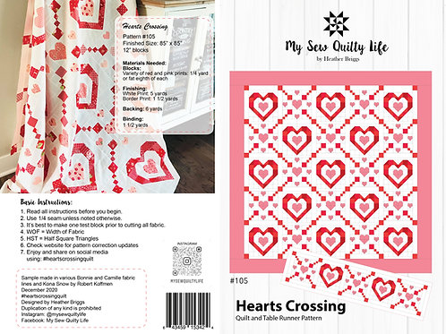 Hearts Crossing Quilt and Table Runner Paper Pattern